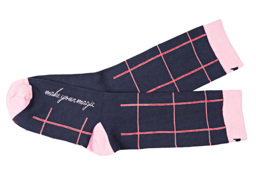 Make Your Magic women's navy striped socks by Posie Turner. Socks with inspirational words.