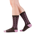 Open Your Eyes taupe and purple plaid socks by Posie Turner. Socks with inspirational words.