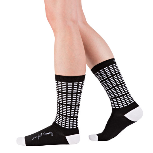 Perfect Timing modern, graphic, black and white socks by Posie Turner. Socks with inspiring words.