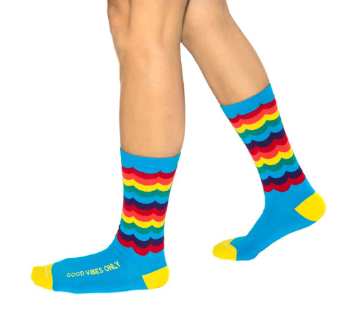 Good Vibes Only luxury rainbow pride socks by Posie Turner