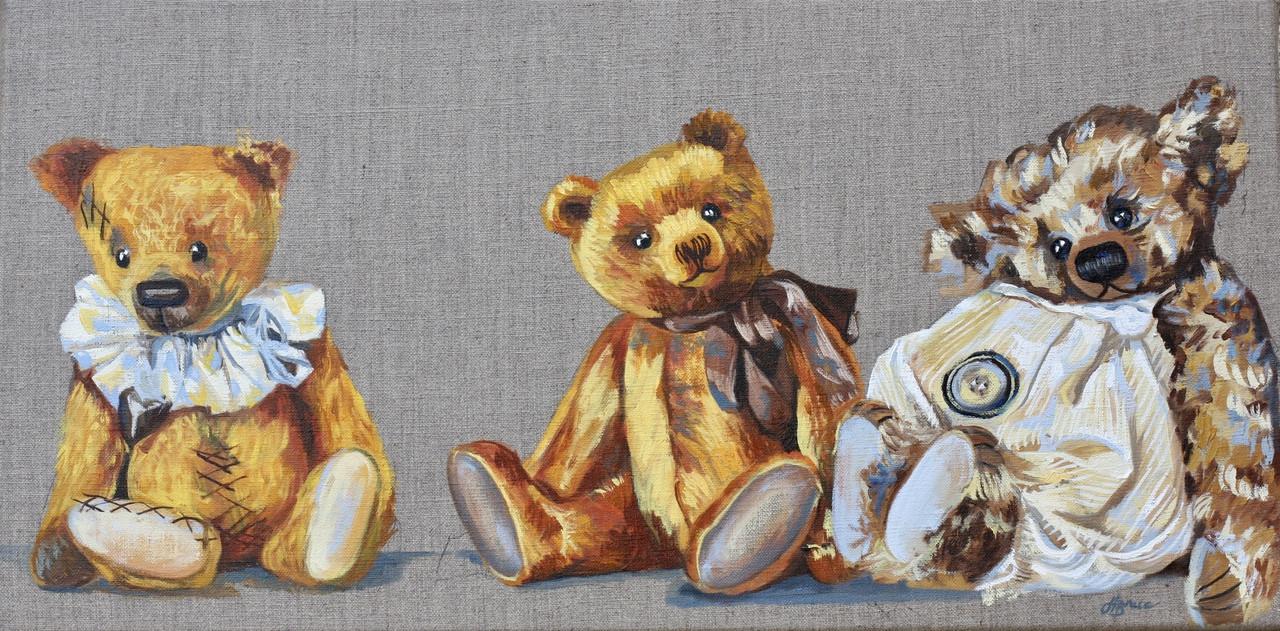 Teddy bears painting in oils