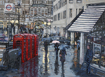 London in the Rain large painting in oil