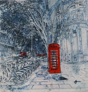 Boris Bikes and Telephone  Box London Art