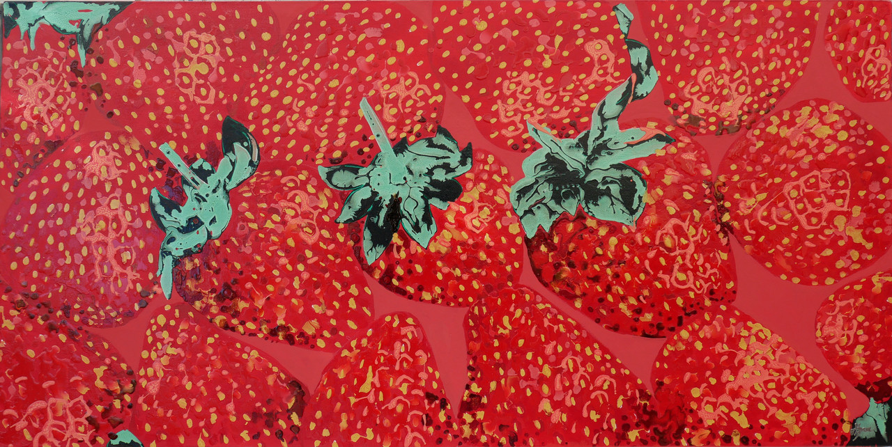 Strawberry collection of bright red art work by Hannah Bruce