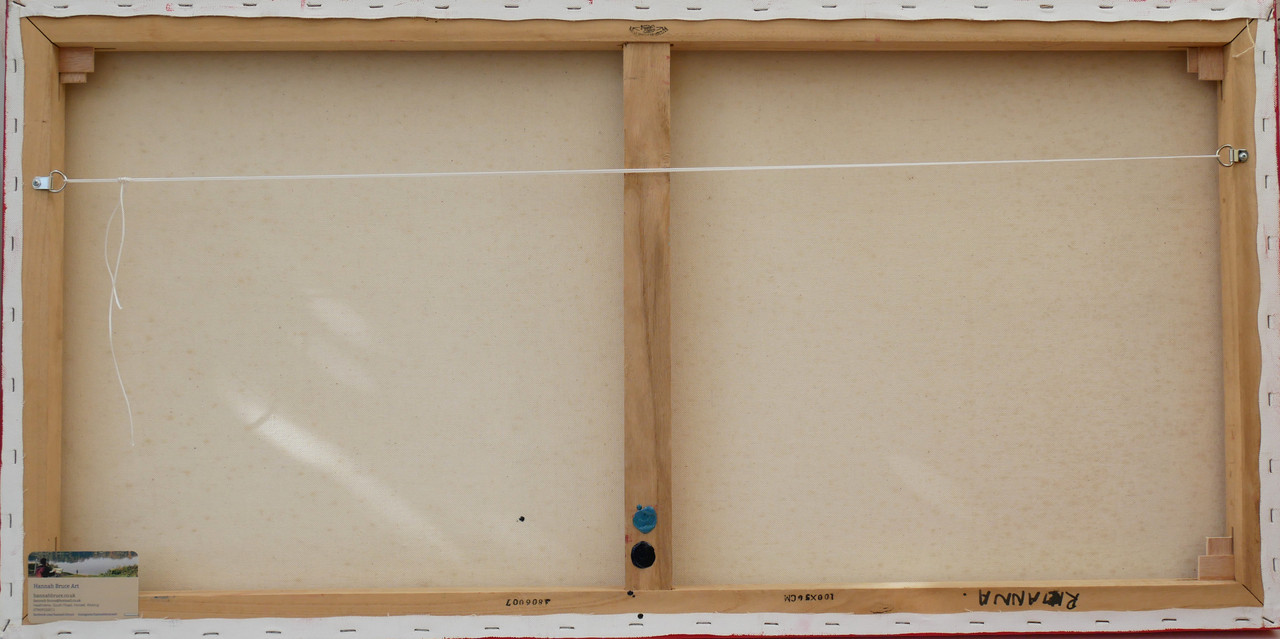The reverse of the strawberry painting and hanging system
