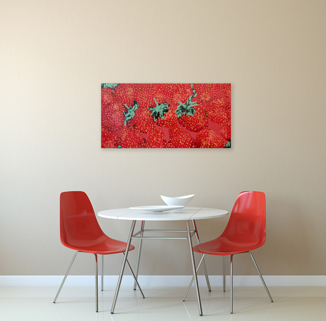 Strawberry painting in kitchen
