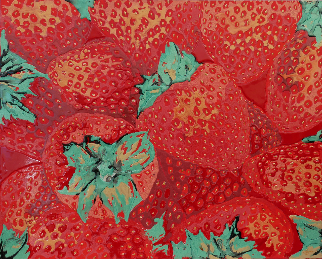 Strawberries painting in red with resin art