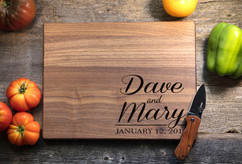 Walnut Personalized Cutting Board ~ Couple Corner Names