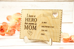Personalized Wood Standing Post Card - Mom