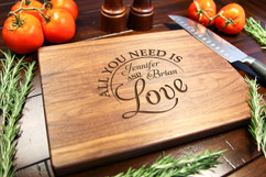 Walnut Personalized Cutting Board ~ All You Need is Love