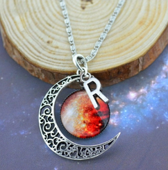 LUX - Initial Charm Moon Pendant 3 - Inferno
