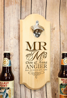 Personalized Wall Mount Bottle Opener - Mr & Mrs