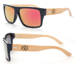 Personalized Bamboo Sunglasses - Color Frame Fancy Monogram Red/Orange