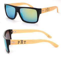 Personalized Bamboo Sunglasses - Color Frame Masculine Monogram Green