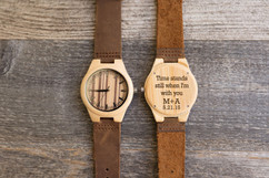 Wood Engraved Personalized Bamboo Watch W#58 - Pin Stripe