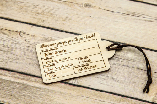 Personalized Wood Luggage Tag Rounded Cabanyco