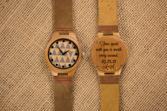 Wood Engraved Personalized Bamboo Watch W#62 - Tryst