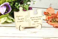 Groupon AU -Personalized Wood Standing Post Card - Puzzle Piece