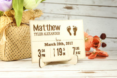 Groupon AU - Personalized Wood Standing Post Card - Newborn Baby