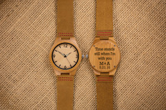 Wood Engraved Personalized Bamboo Watch Glow Dials W#68 - Aura
