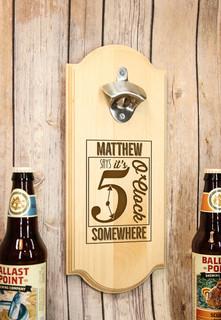 Groupon AU/NZ - Personalized Wall Mount Bottle Opener - 5 O'Clock Somewhere