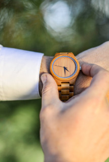 Wood Engraved Personalized Bamboo Watch W#71 - Crux Link