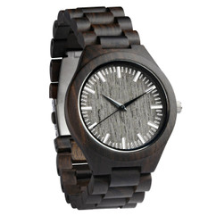 Wood Engraved Personalized Bamboo Watch W#72 - Ebony Link