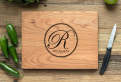 Cherry Personalized Cutting Board ~ Circle Initial
