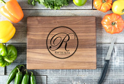 Walnut Personalized Cutting Board ~ Circle Initial
