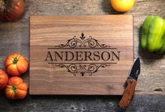 Walnut Personalized Cutting Board ~ Vine Name