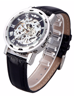 LUX  - Engraved Black and Silver Skeleton Leather Watch W#27 - Polar