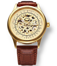 LUX  - Engraved Gold Skeleton Mechanical Leather Watch W#37 - Titus