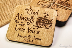 LUX  - Personalized Coaster Set - Owl Love You