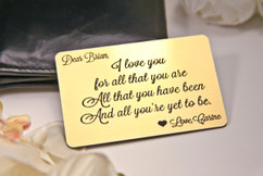 Grpn UK - Personalized Wallet Card Insert - I Love You For All That You Are