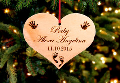 Personalized Christmas Ornament - Heart baby Xmas
