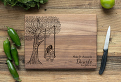 Walnut Personalized Cutting Board ~ Tree Swing