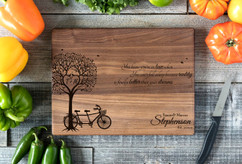 Walnut Personalized Cutting Board ~ Bike Tree