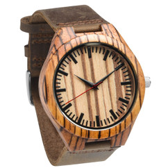 Grpn Italy - Wood Engraved Watch W#76 - Zebrawood