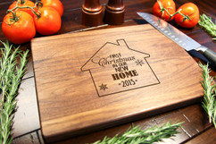 Walnut Personalized Cutting Board ~ First Christmas in our New Home