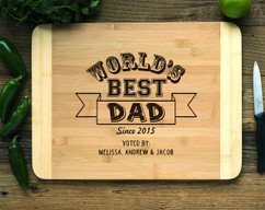 Worlds Best Dad Personalized Cutting Board HDS