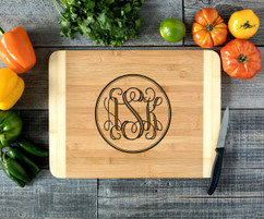 Circle Monogram Personalized Cutting Board HDS
