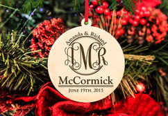 Personalized Christmas Ornament - Monogram Couple