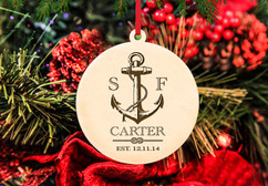 Personalized Christmas Ornament - Nautical Anchor