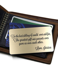 Grpn BE - Personalized Wallet Card - To the Best Sibling