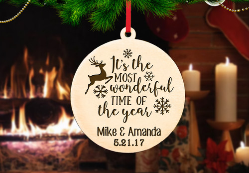 Personalized Christmas Ornament.Personalized Christmas Ornament Most Wonderful Time Of The Year