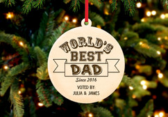 Grpn Italy - Engraved Christmas Ornament -  Worlds Best Dad