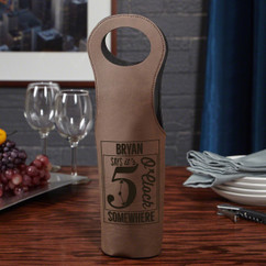 Leather Bottle Tote Bag - 5 O'clock Somewhere