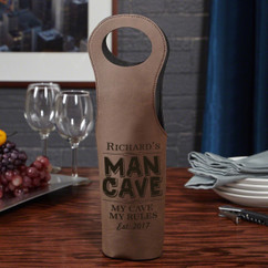 Leather Bottle Tote Bag - Man Cave