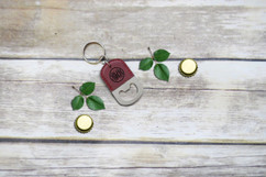 Personalized Leather Key Chain Bottle Opener - Fancy Monogram