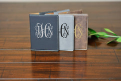 Personalized Leather Passport Wallet Holder - Monogram
